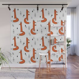 Cute Graphic Ginger Foxes Wall Mural