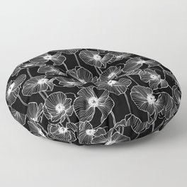 Black and White Poppies Floor Pillow