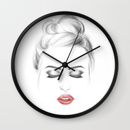 Minimalist fashion illustration model face Wall Clock