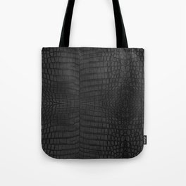 Black Crocodile Leather Print Tote Bag