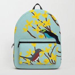 birds on forsythia bush designed for bird and nature lovers Backpack