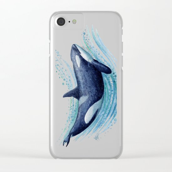 Orca Spash ~ Watercolor ~ Killer Whale Clear iPhone Case