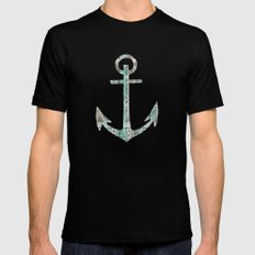 Tribal Anchor and Chevron  Mens Fitted Tee MEDIUM Black