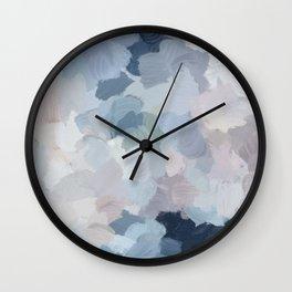 Navy Indigo Gray Blue Blush Pink Lavender Abstract Floral Spring Wall Art Wall Clock