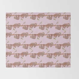 Lazy Baby Sloth Pattern in Pink Throw Blanket