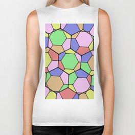 Stained Glass Tortoise Shell - Geometric, pastel, hexagon patterned artwork Biker Tank