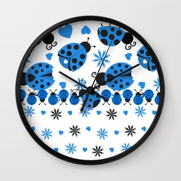 Cute Ladybugs blue Wall Clock