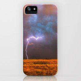 Ride the Lightning - Lightning and Rainbow Over Oklahoma Plains iPhone Case