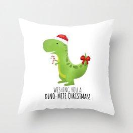 Wishing You A Dino-Mite Christmas Throw Pillow