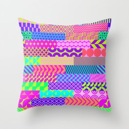 Modern geometrical abstract pink teal lime green stripes Throw Pillow