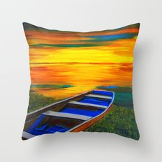 Rusty old boat Throw Pillow