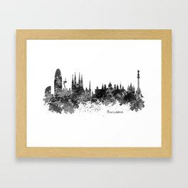 Barcelona Black and White Watercolor Skyline Framed Art Print