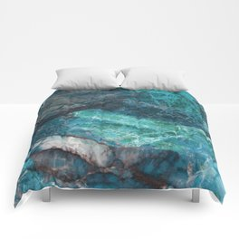Cerulean Blue Marble Comforters