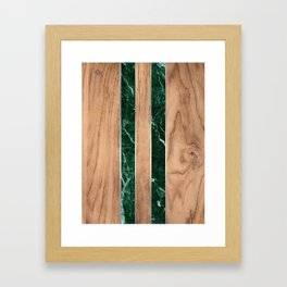 Wood Grain Stripes - Green Granite #901 Framed Art Print
