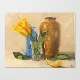 Yellow Rose with Brown Vase Canvas Print