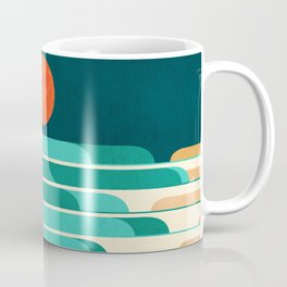 Chasing wave under the red moon Coffee Mug
