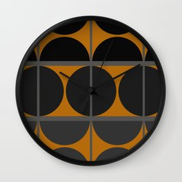 Black and Gray Gradient with Gold Squares and Half Circles Digital Illustration - Artwork Wall Clock