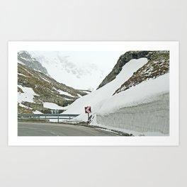 A high Alpine winter road trip Art Print