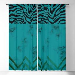 Urban Jungle - Zebra Marble Pattern Green Blackout Curtain