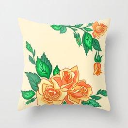Abstract tea roses Throw Pillow