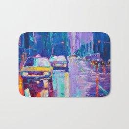 Streets of New York #2 - Palette Knife Contemporary Urban City Landscape by Adriana Dziuba Bath Mat