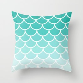 Ombre Mermaid Scallops Throw Pillow