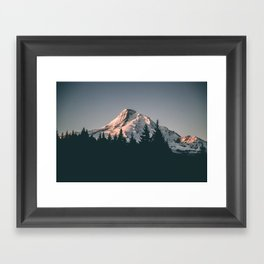 First Light on Mount Hood Framed Art Print