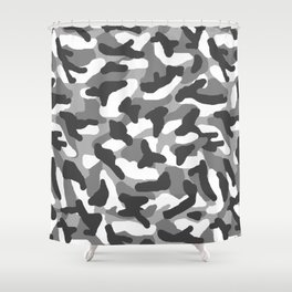 Grey Gray Camo Camouflage Shower Curtain