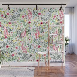 Flowers and Leaves Wall Mural
