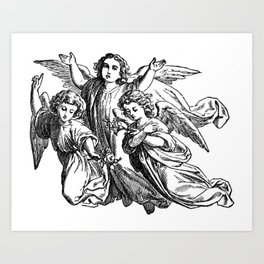 Cherubs   Angels   Three angels   Gothic Church   Gothic Decor Art Print