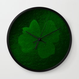 with a small brush shiny green shamrock Wall Clock