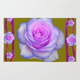 PINK-BLUE TINGED ROSES ON KHAKI COLOR Rug