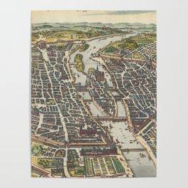 Vintage Map of Paris France (1655) Poster