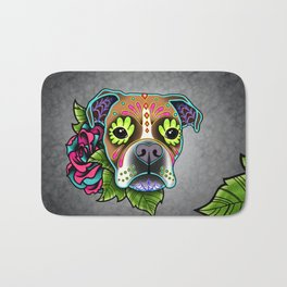 Boxer in White Fawn - Day of the Dead Sugar Skull Dog Bath Mat