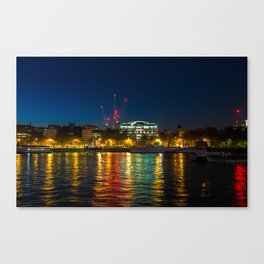 Victoria Embankment, London, at night Canvas Print