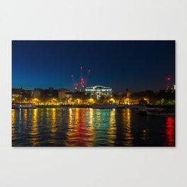 Victoria Embankment, London, at night Canvas Print