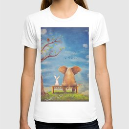 Elephant and rabbit sit on a bench on the glade T-shirt