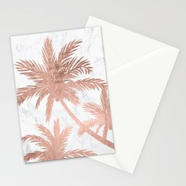 Tropical simple rose gold palm trees white marble Stationery Cards