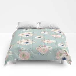 Dog Rose Pattern Mint Comforters