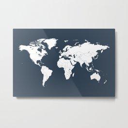 Minimalist World Map in Navy Blue Metal Print