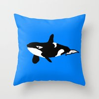 orca Throw Pillows featuring Orca by Whimsy Notions Designs