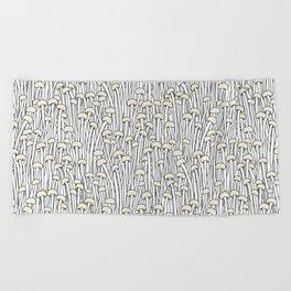 Enokitake Mushrooms (pattern) Beach Towel