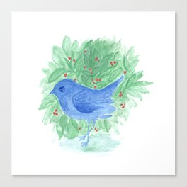 Blue bird and shrub watercolor painting Canvas Print
