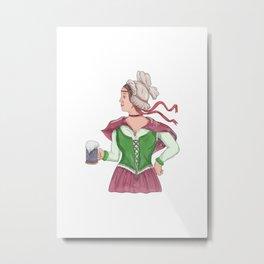 German Barmaid Serving Beer Watercolor Metal Print