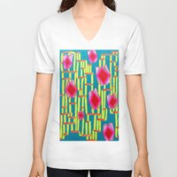 tiki V-neck T-shirts featuring Tiki Torture by Stella Noelle