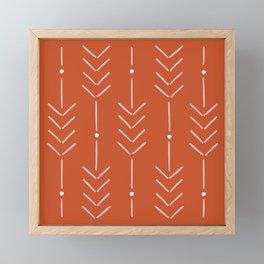 Arrow Lines Pattern in Terracotta Rose Gold 3 Framed Mini Art Print