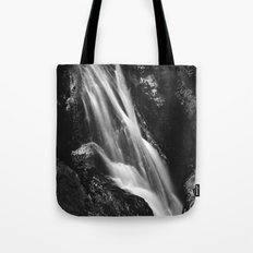 Black and white waterfall in Hell Gorge, Slovenia Tote Bag