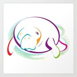 Rainbow Manatee Art Print