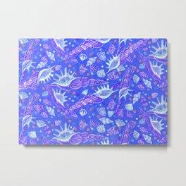 Seashells Sea Shells Underwater Pattern Paper Collage Ultramarine Metal Print