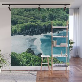Tropical Ocean Cove With Rogue Wave and Wild Surf Wall Mural